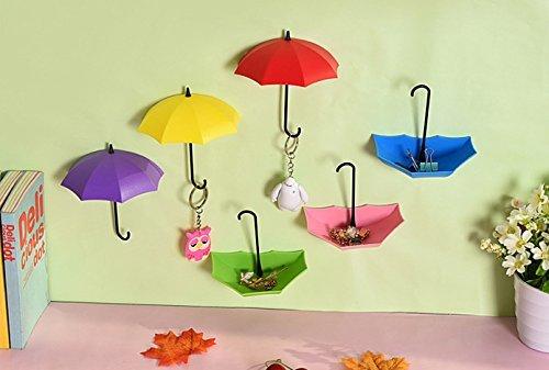 Creative Hook, 3 pièces / lot Umbrella Creative Dans Key Holder Tablette de Forme Cintre Crochets Décoratifs Organisation Mur Cuisine Pour Salle de Bains Accessoires Crochet Creative (JRL-A, Vert+Bleu+Violet) (Unbrellam, COLOR B)