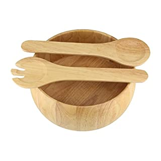 Apollo Housewares 31 x 27 cm Rubber Wood Salad Bowl and Servers, Natural Wood