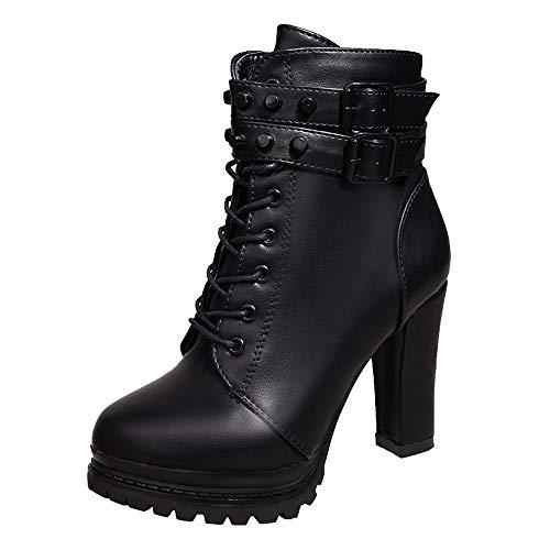 Rawdah Botas Mujer Invierno Botas de Mujer Zapatos de tacón Alto para Mujeres Martain Boot Zapatos con Cordones de Cuero con Cordones de Color sólido Zapatos Mujer Plataforma