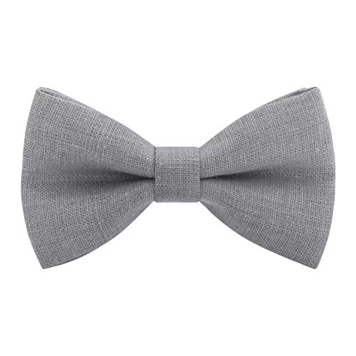 Bow Tie House Linen Classic Pre-Tied Bow Tie Formal Solid Tuxedo, by (Small, Stone Grey) - Pretied Bow Tie