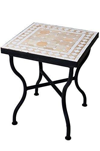ORIGINAL Marokkanischer Mosaiktisch Gartentisch 40x40cm Groß eckig | Eckiger Mosaik Esstisch Mediterran | als Tisch für Balkon oder Garten | Marrakesch Natur Weiß 40x40cm