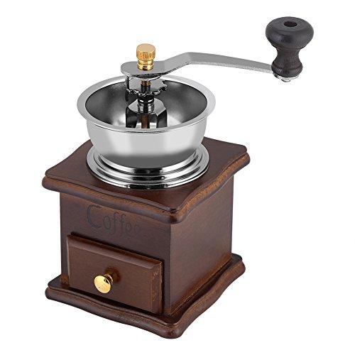 Fdit Molinillo para granos de café, vintage, de madera, manual, de cerámica
