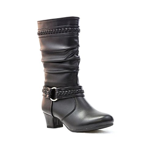 GIRLS FAUX LEATHER MID CALF LOW HEEL SLOUCH BOOTS BLACK, Size 2 UK