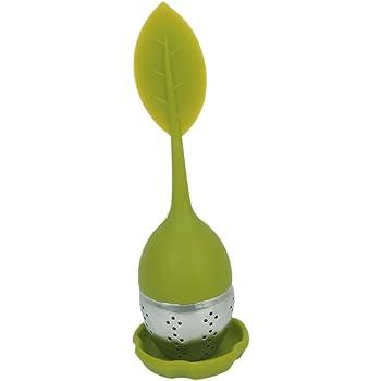 Acciaio Inox Infusore Tè Filtro Con Coperchio Foglia Verde Silicone