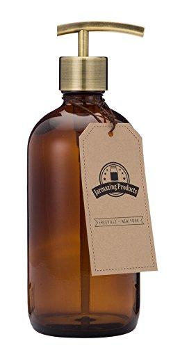 0.5 Unze Pumpe (Jarmazing Products Bernsteinfarbene Glasflasche Seifen- und Lotionspender mit Moderne Messing-Pumpe - 16 Oz (473 ml))