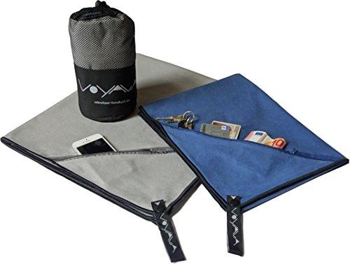 Mikrofaser Reise-Handtuch 2er Set // Sport-Handtuch // Badetuch groß 80x140 & Handtuch klein 50x120 cm // Reißverschluss-Zip-Tasche & Knöpfe // kompakt & leicht // für Fitness-Studio Reisen Wandern Backpacking Outdoor // von VOYALA