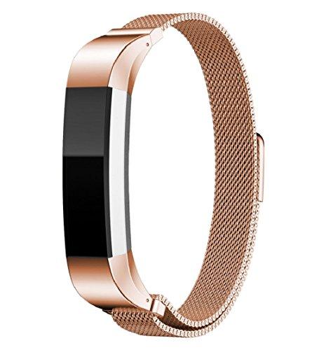 Preisvergleich Produktbild Tonsee Mailänder Magnetschleife Edelstahlband für Fitbit Alta Smart Uhren (Rose Gold)