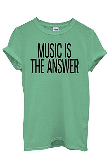 Music is The Answer Art Men Women Damen Herren Unisex Top T Shirt Grün