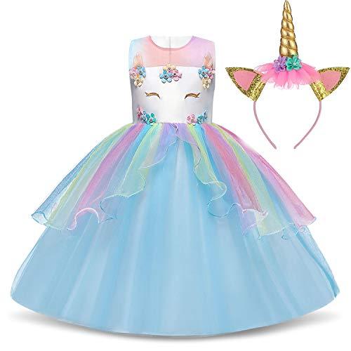 TTYAOVO Mädchen Star Einhorn Phantasie Prinzessin Kleid Kinder Blume Pageant Party Kleid Ärmellose Rüschen Kleider Größe 7-8 Jahre Blau