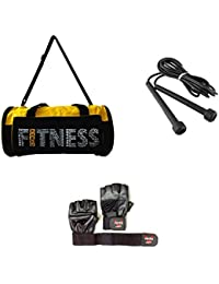 Vinto COMBO FOR FITNESS CRAZY 1 Pc GYM BAG, 1 PAIR GYM GLOVE, 1 Pc SKIPPING ROPE Gym & Fitness Kit