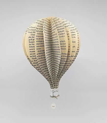 3er-Set Ballon aus alten Buchseiten mit Kunstwachsperle und Borte/Hochzeitsdeko/Hochzeitsgeschenk/Hängedeko