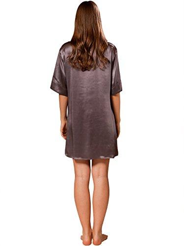 ELLESILK Damen Nachthemd 100% Echte Seide, Nachtkleid Chemise 22MM Maulbeerseide Kohlengrau