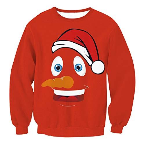 WFTD Unisex Weihnachts-Sweatshirt, 3D-Druck Lässige Crew Nacken Sport Lange Ärmel T-Shirt, Cartoon Santa Claus Muster, Rot,M - T-shirts Lange ärmel Cartoon