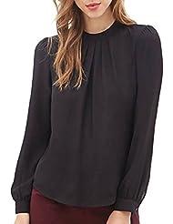 Culater® Las Mujeres del verano ocasional de la gasa de manga larga tops camisa blusa (S, Negro)