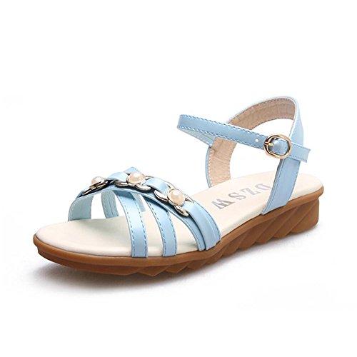 Sommer Sandalen weibliche Rinder sehnen am Ende der offenen Zeh anti-Flachbild schwangere Frauen Sandalen Kompaktlader Hellblau