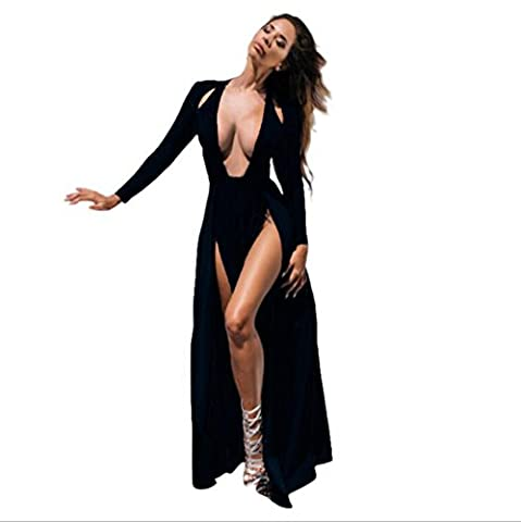 Reaso Femmes Longue Robe Sexy Maxi Robe Cocktail Formel Soiree Fête Party Split the Fork Casual Manche longue Cou V Elegant Robe Chic Peignoir vêtement de nuit (L, Noir)
