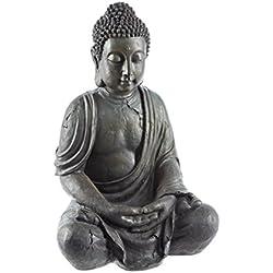 Dehner Figur Buddhafigur aus Polyresin - sitzend, Kunststoff, circa 70 x 45 x 34 cm, grau