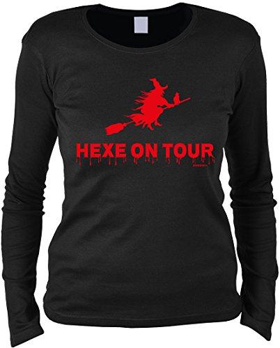 Gruseliges Halloween Fun Langarmshirt Damen - Hexe on tour - T-Shirt Unisex, Farbe: Schwarz