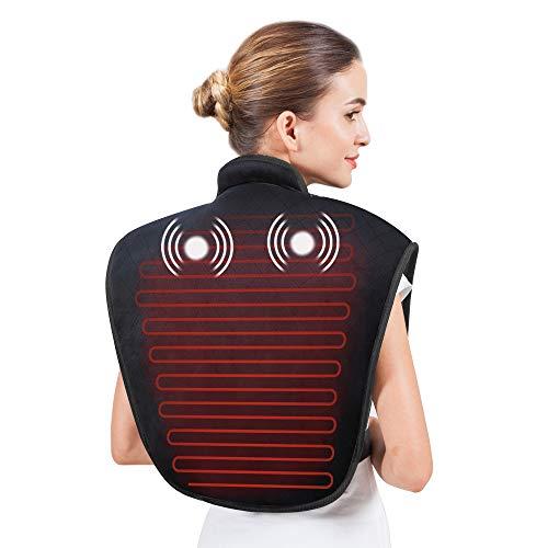 Snailax Heizkissen für Rücken Nacken und Schultern - Wärmepads mit einstellbaren Wärmestufen und Vibrationsmassage zur Linderung von Nacken- Schulterschmerzen, Heizkissen mit automatischer Abschaltung