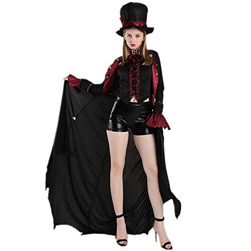 Black Erwachsene Anzug Für Kostüm - roroz Halloween Hexenkostüm, GRAF, Vampir Kostüm, Teufel Verkleiden Sich, Zombie Anzug Maskerade KostüM Damen Cosplay Kostüme, Karneval, Nacht-Party, Erwachsene, Männer und Frauen,Black-L