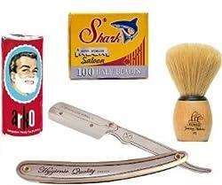 Shaving Factory Rasur-Geschenkkset (Rasiermesser, Klingen, Rasierseife und Rasierpinsel)