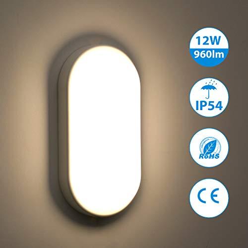Oeegoo 12W LED Deckenleuchte Bad, IP54 Wasserfest Feuchtraumleuchte 960lm led Badezimmerlampe,...