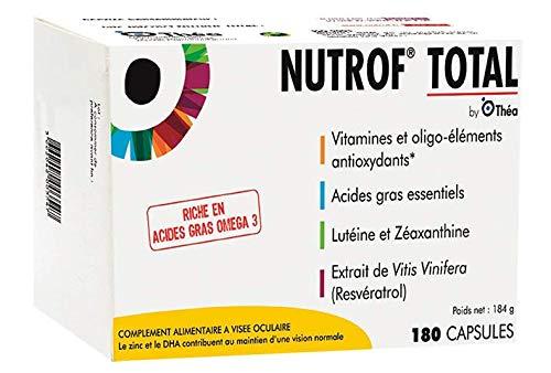 théa nutrof total - integratore alimentare per la vista, ricco di vitamine e oligoelementi - confezione da 180 capsule.