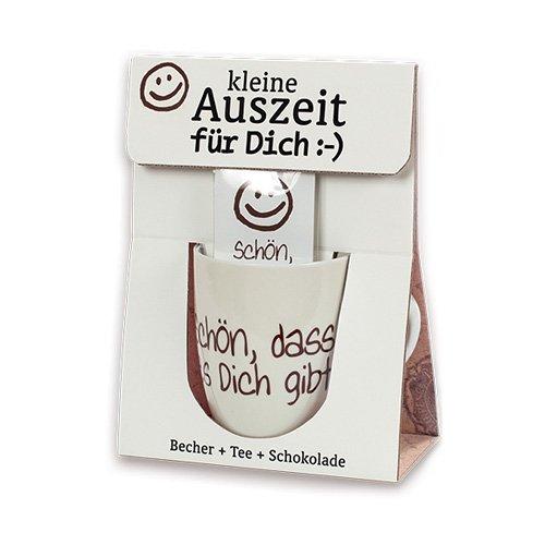 La Vida 1010551610 Geschenkset Schön dass es dich gibt 3teilig Becher Tee und Schokolade