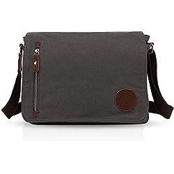FANDARE Bolsa Mensajero Messenger Bag Crossbody Bolso Bandolera Shoulder Bag 14 Pulgadas Portátil Estudiante Viaje Trabajo Escuela Las Mujeres Hombre Bolso Dark Gris