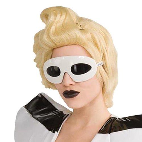 Lady Gaga Brille weiß: Sonnenbrille Kostüm Zubehör Motto (Gaga Brille Lady)