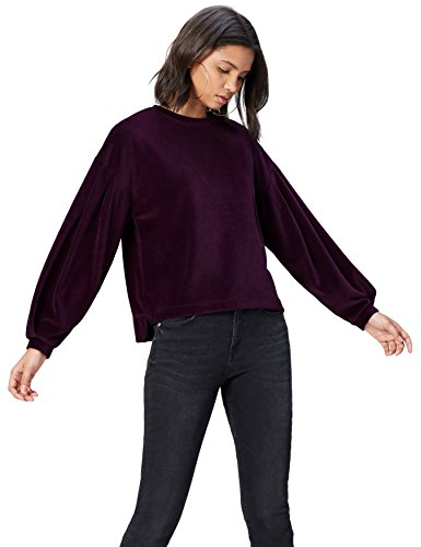 FIND Sweat-Shirt Velours Manches Bouffantes Femme, Rouge (Burgundy), 40 (Taille Fabricant: Medium)