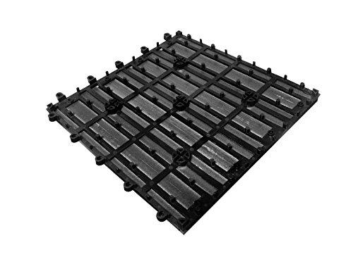 SAM® Mattonelle in WPC ad incastro per terrazzo, set di 22 pezzi di circa 2 m², colore grigio antracite, con 4 listelli, pavimentazione per balcone con struttura di drenaggio sottostante - 2