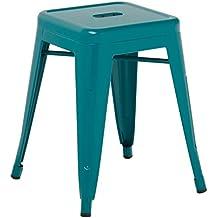 SKLUM TABURETE BAJO TOLIX - Taburete Industrial Metálico Azul Turquesa - (Elige Color)