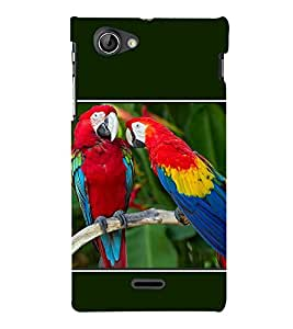 Fiobs Designer Back Case Cover for Sony Xperia J :: Sony Xperia J ST26i :: Sony Xperia J ST26a (Animal Bird Multi Color Parrot Mitthu Popat)
