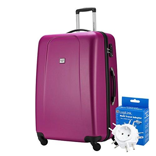 HAUPTSTADTKOFFER® 103 Liter XL Reisekoffer · WEDDING · TSA · MATT · (in versch. Farben) + REISEADAPTER (Weiss) Magenta