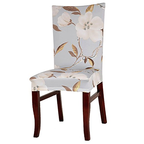 Rrimin Dining Chair Cover Protector Removable Conjoined Stretchy Elastic Floral Chair Seat Cover for Hotel Home Stool (Golden Leaf)