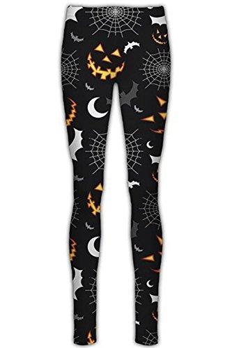 Be Jealous Damen Halloween Cobweb Spinne Gespenstisch Damen elastisch Unheimlich Mond Schläger Bedruckt Angepasst Leggings Jeggings - Unheimlich Schläger, S/M ()