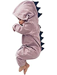 Minetom Bebé Recién Nacido Manga Larga Dinosaurio De La Historieta Abrigo Ropa Una Pieza Peleles Pijamas Mameluco Niños Niñas Monos