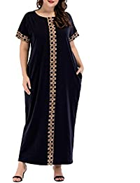 Qianliniuinc Oversize Mujeres Musulmanas Maxi Vestido de Manga Corta con Bolsillo islamico Abaya Kaftan Dubai Caftan