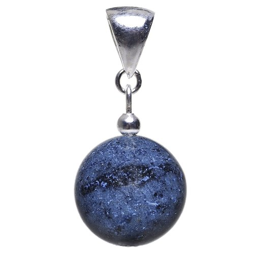 Anhänger aus Dumortierit & 925 Silber Edelstein Kugel dunkelblau-violett Halsschmuck Damen