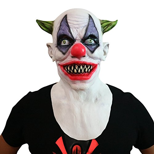 Crazy Clown Joker scary lustige Maske mask Kopf aus sehr hochwertigen Latex Material mit Öffnungen an Augen Halloween Karneval Fasching Kostüm Verkleidung für Erwachsene Männer und Frauen Damen Herren gruselig (Kostüme Joker Männer Halloween Für)