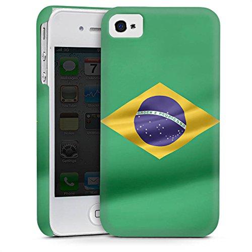 Apple iPhone 4 Housse Étui Silicone Coque Protection Brésil Drapeau Brésil Cas Premium mat