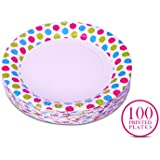 Origami Polka Dot Printed Disposable Party Paper Plate - 100 pieces