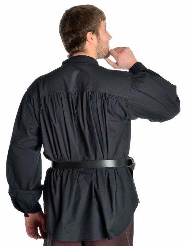 Schnürhemd Piratenhemd Hemd reine Baumwolle weiß -schwarz S-XXXL Schwarz