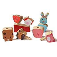 Shumee Wooden Farm Animals Twist & Turn Toy Set (2 years+) - Motor Skills & Hand-Eye Coordination
