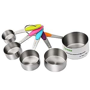 IPOW 5er Set Edelstahl Amerikanischer Messbecher Messlöffel mit dem Silikon Griff für Küche Kochen Backen etc.