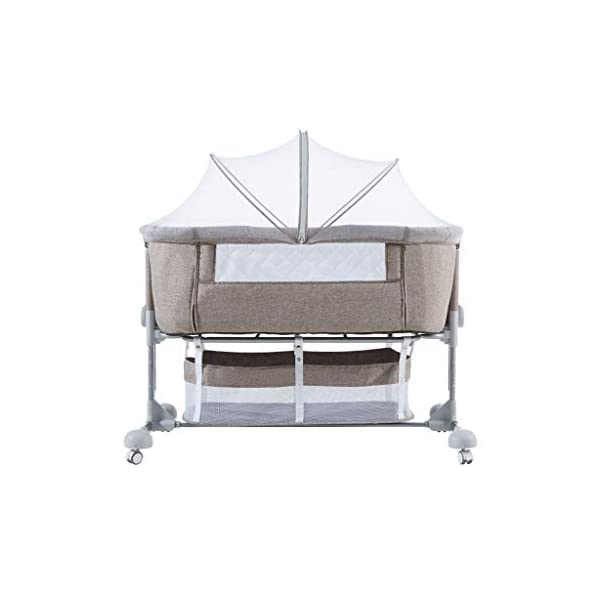 Child Baby Travel Folding Cot Portable Side Sleeping Bassinette for 0-24 Months Infant 43.3 X 22.04 X 30.7 Inch WZX Side sleeping crib has been specifically designed to allow you and your baby to sleep next to each other without the need to share the same bed The ease of attachment and assembly, plus the removable and washable lining make life easy, making the bedside crib the perfect addition to any nursery Height adjustable fame to sit comfortably along any bedframe and a lightweight design makes it perfect for use in almost any room in your home. 1