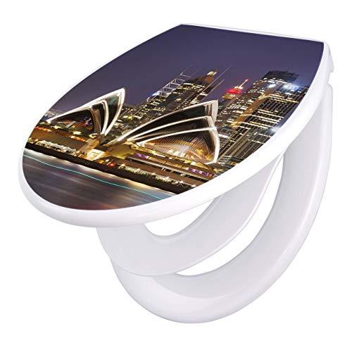 banjado Familien WC Sitz mit Absenkautomatik | Toilettendeckel mit Kindersitz | Klodeckel weiß | Toilettensitz mit Soft Close | 44 x 37 cm WC Deckel mit Motiv Sydney