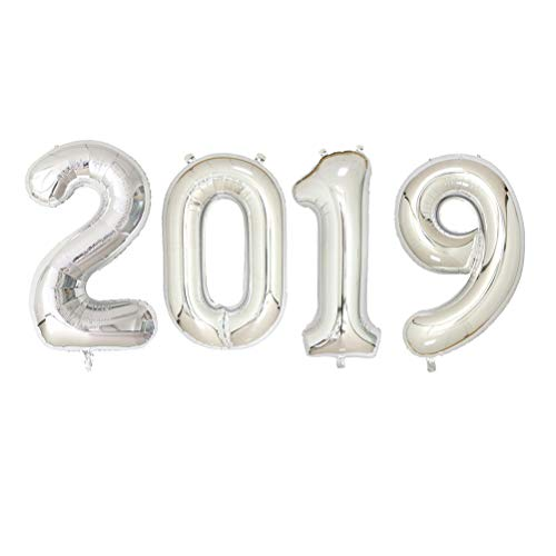 YeahiBaby 2019 Abschlussfeier Luftballons Silber Anzahl Graduation Aluminium Folie Luftballons Dekorationen Zubehör (Folie Luftballons Anzahl)