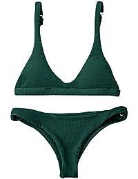 3fbc1155fc8 ZAFUL Women Padded Scoop Neck 2 Pieces Push Up Swimsuit Revealing Thong  Bikinis V Bottom Style